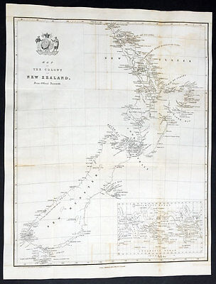 1841 The New Zealand Company Scarce Early Original Antique Map of New Zealand