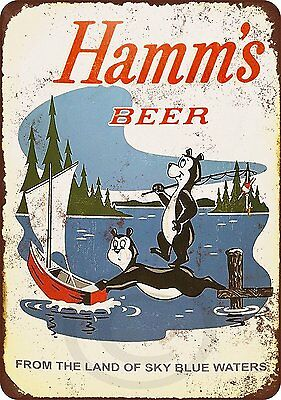 "1956 Hamm's Beer Bears Fishing Retro Metal Sign 8"" x 12"""