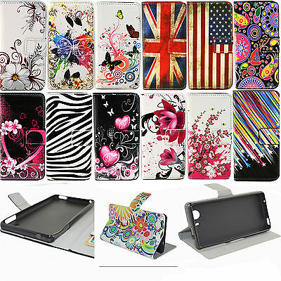 Classic Magnetic Flip Stand Leather Card Wallet Cover Case For Sony Xperia Phone
