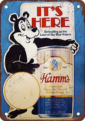 "Hamm's Beer Bear Land Of The Sky Blue Waters Vintage Retro Tin Sign 12"" X 18"""