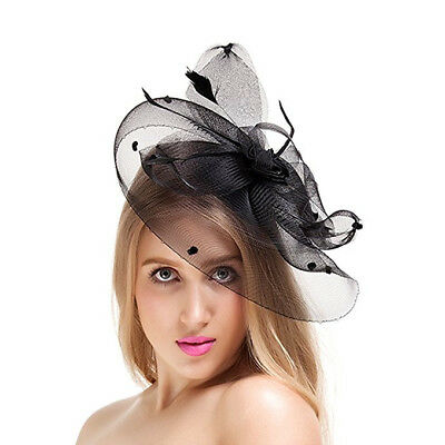 Valdler Elegant Feather Mesh Fascinator Hair Clip Hat Tea Party Wedding Travel