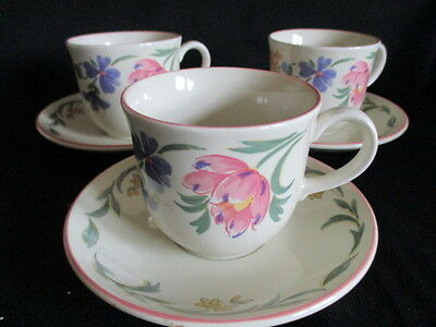 Staffordshire Tableware CHELSEA Tea cups and saucers x 3