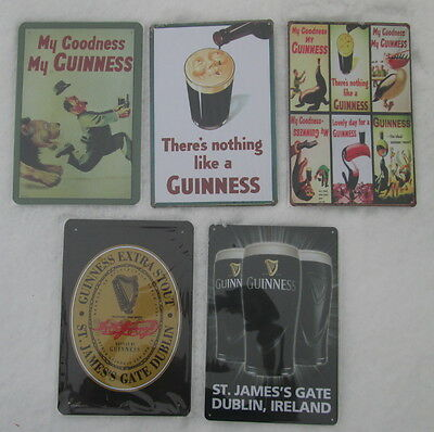 New Huge Set Wholesale Lot of 5 Metal Guinsess Signs Free Shipping