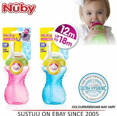 Nuby Flexi Straw Beaker Baby Slicone Non-Spill Leak Proof Toddler Cup 300ml +12m