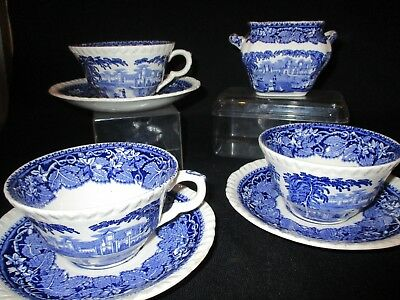 George Jones Abbey Blue and white 9.5 inch plates x 2