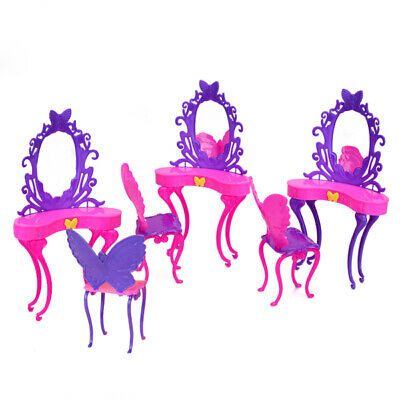 Shocking Pink Purple Bedroom Furniture Dressing Table Chair For Dolls