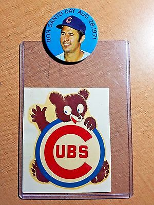 Vintage Chicago Cubs lot of 2: 1971 Ron Santo Day SGA Pin + Window Decal