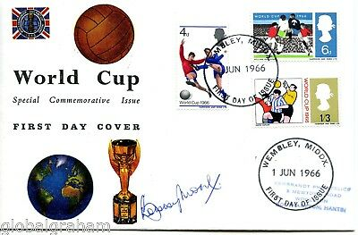 1966 World Cup Great Britain Official Fdc Wembley Fdi Pmk Signed Bobby Moore!