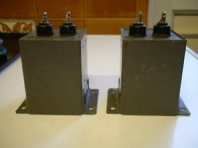 Pair 2 UF 600 volt DC working block type capacitors.Test excellent.