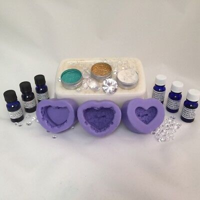 SOAP MAKING KIT 1kg Oatmeal shea soap, 3 x heartt moulds,dyes,fragrance,shimmers