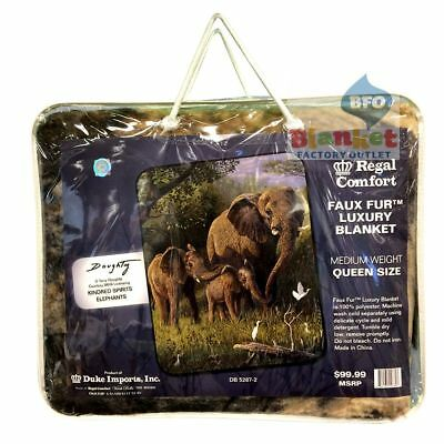 "Elephant Elephants Africa queen size faux fur blanket 79"" x 96"" NEW"