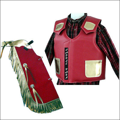 Saddle Barn Western Faux Leather Junior Chap Vest Combo Red Gold