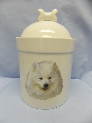 Samoyed/AM Eskimo Dog Porcelain Treat Jar Fired Head Decal 8 In Tall
