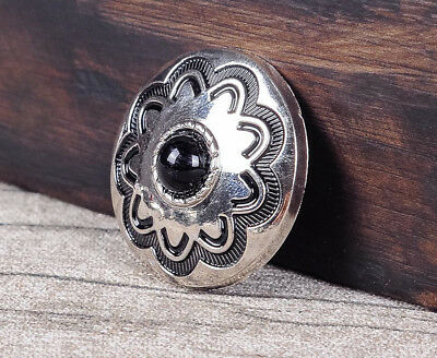 10PC 30MM Black Turquoise Flower Western Cowgirl Saddle Silver Concho Screwback