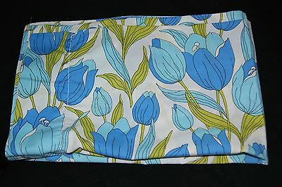 03 Vintage 70s WABASSO Blue tulips Fitted sheet/ 2 Pillowcases Double bed