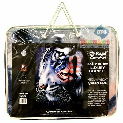 "Patriotic White Stripes Tiger Queen Size faux fur blanket 79"" x 96"" NEW"