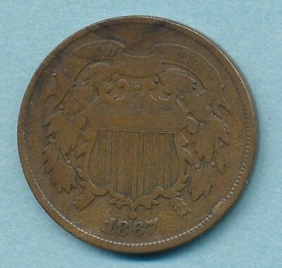 1867 Two cent Piece DOUBLE DIE Obverse Fine Nice Brown  Free Ship
