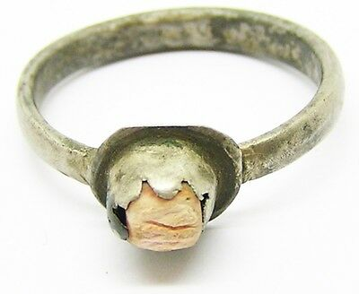 Charming Medieval Silver & Magical Coral Finger Ring c. 13th - 14th century A.D.