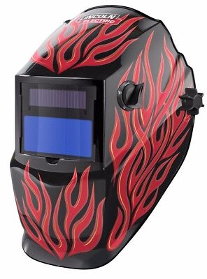Lincoln K3446-1 Red Steel Helmet, Variable Shade 9-13 Auto Darkening Lens