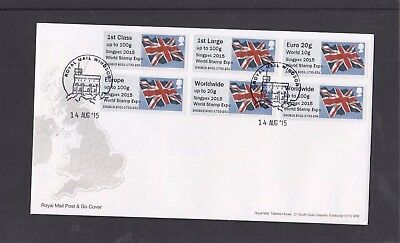 GB 2015  Post & Go Union Flag SINGPEX Stamp Expo overprint Collect Strip B1 FDC