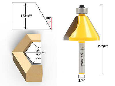 """30 Degree Chamfer Edge Forming Router Bit - 1/4"""" Shank - Yonico 13914q"""