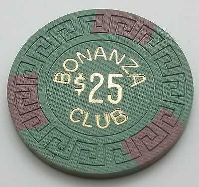 Bonanza Club $25 Casino Chip Lake Tahoe Nevada Lg-Key Mold 1966 FREE SHIPPING