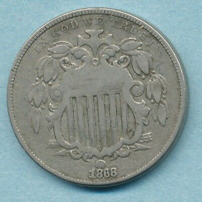1868 Shield Nickel Re-punched Date South  Fine Free Ship