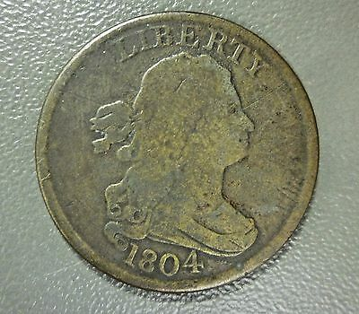 1804 Draped Bust Half Cent Spiked Chin Nice Original Example