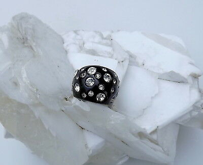 Chunky Black Plastic Wide Ring Clear Rhinestones Old Store Stock