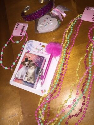 Claire's Puppy Kitty Diary Jewelry Rings Necklaces Lot Glitter Headband Beads
