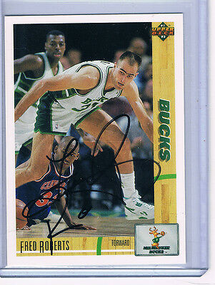 91-92 Upper Deck Fred Roberts #293 Milwaukee Bucks Signed Autographed Card