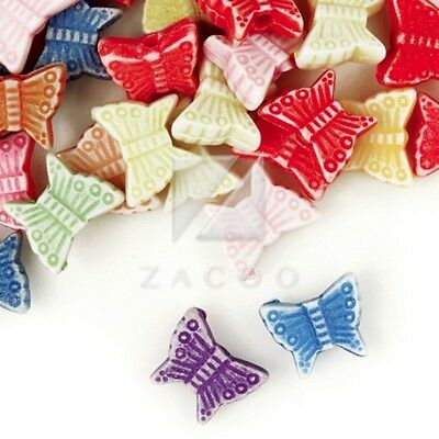 258pcs Butterfly Acrylic Beads Charms Jewelry Making 8.5x7x3mm Assorted Color
