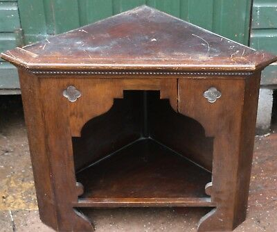 Old Wooden Gothic Type Corner Stand Ideal For Tv Or Similar To Tidy Up Or Restor