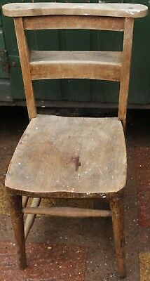 Old Solid Wooden Chapel Or Church Chair To Tidy Up