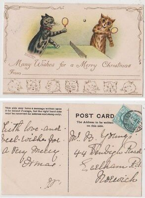 Early Postcard, Animals Cats, Artist Signed Louis Wain, Cats Playing Tennis,1904