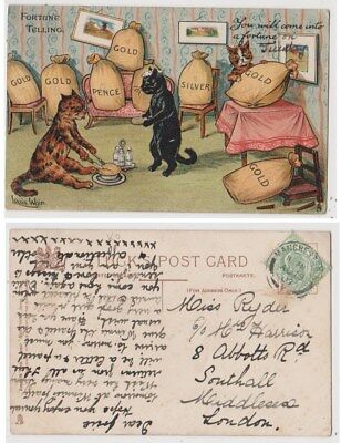 Early Postcard, Animals Cats, Artist Signed Louis Wain, Fortune Telling, 1907