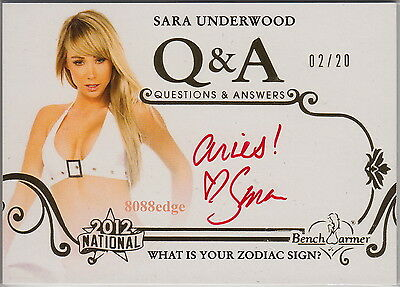 "2012 Benchwarmer National Q & A Auto: Sara Underwood #2/20 ""aries"" Autograph 1/1"