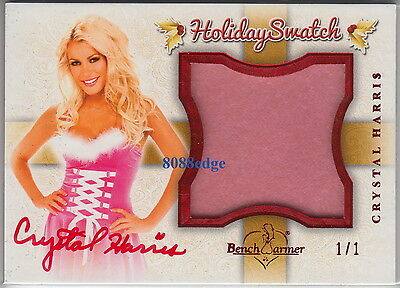 2012 Benchwarmer Holiday Swatch Auto: Crystal Harris #1/1 Of One Red Autograph