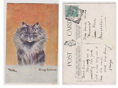 Early Postcard, Animals Cats, Artist Signed Louis Wain, Smug Content,1904