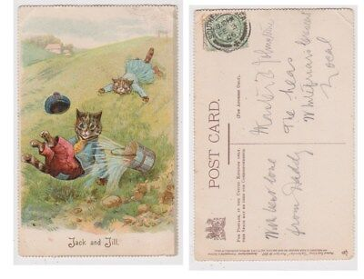 Early Postcard,Animals Cats,Artist Signed Louis Wain, Jack And Jill, 1906