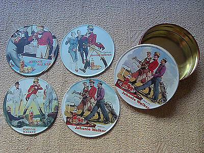 JOHNNIE WALKER original set of 4 coasters in tin made in Greece