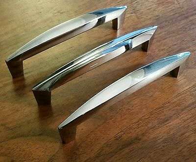 "Lot of 3 Chrome Mid Century Modern Art Deco Drawer Pulls Handles 5 & 7/8"" MCM"