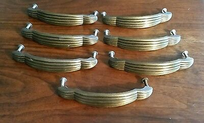 Lot of 7 Vintage Fixed Ribbed Brass Drawer Pulls Handles Mid Century Art Deco