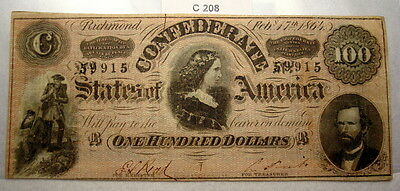 1864 $100 Confederate Hundred Dollar - Lucy Pickens T-65 Currency Csa #c208