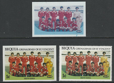 St Vincent Bequia 5480 - 1986 WORLD CUP FOOTBALL 1c TWO CROMALIN PROOFS