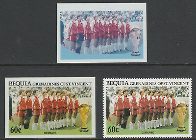 St Vincent Bequia 5484 - 1986 WORLD CUP FOOTBALL 60c TWO CROMALIN PROOFS