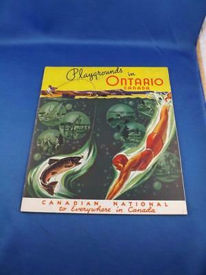 Playgrounds In Ontario Travel Book Canadian National Railways 1938 Fold Out Map