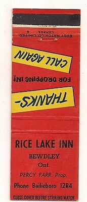 Rice Lake Inn Percy Farr, Prop. Bewdley ON Ontario Matchcover 080317