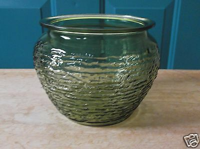 Retro Green Glass National Potteries Ribbed Side Planter or Bowl