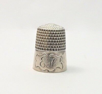 Antique Simons Brothers Sterling Silver Hammered Sewing Thimble Sz 8